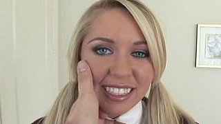 Blonde, grey eyed schoolgirl fucking in her uniform