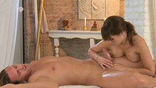 Busty brunette cutie massages and hard fucks big cock of hot dude