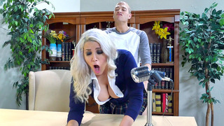 Alix Lovell bends over the desk and gets fucked in the dean's office