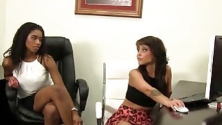 Office slut lesbian black girls making up