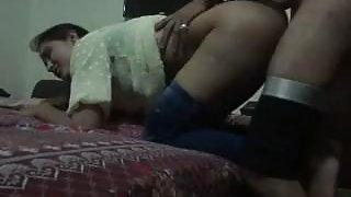 Pakistani chick sucks dick before getting doggy styled in bed