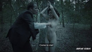Young girl is butt naked and male-dominated in the forest