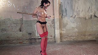 BDSM session featuring a babe with clumps on tits