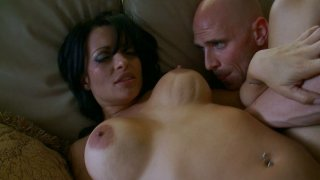 Fantastic brunette Mason Storm rides and fucks doggy style