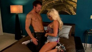 Horny village chick Britney Amber fucks hillbilly guy Kevin Crows