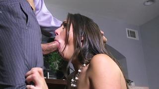 Studious yet slutty Anastasia Morna sucking big cock in the office