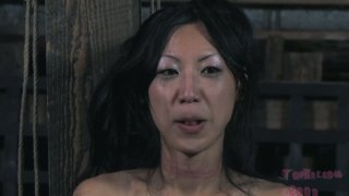 Ugly Korean Tia Ling gets treated rough in BDSM way
