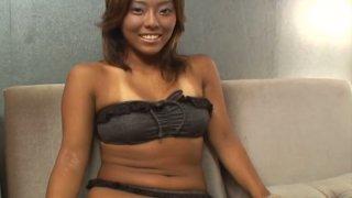 Petite dakr skinned Japanese Natsuki Hyuuga pleases herself