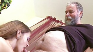 Crazy old stud bonks mouth pussy of a young girl