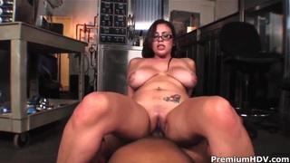Heavy chested Selena Castro takes on hard fat knob