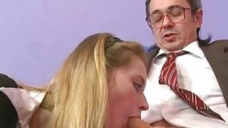Hottie is letting her older teacher taste her twat